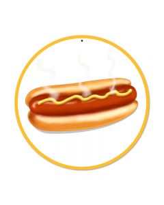 Hot Dog, Food and Drink, Round Metal Sign, 14 X 14 Inches