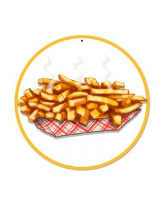 Fries, Food and Drink, Round Metal Sign, 14 X 14 Inches