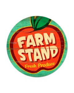Farm Stand, Food and Drink, Round Metal Sign, 14 X 14 Inches