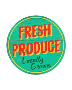 Fresh Produce, Food and Drink, Round Metal Sign, 14 X 14 Inches
