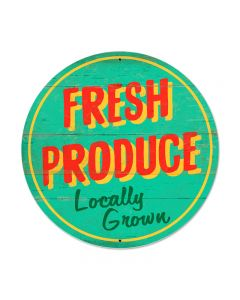 Fresh Produce, Food and Drink, Round Metal Sign, 28 X 28 Inches