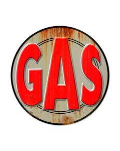Gas, Automotive, Round Metal Sign, 28 X 28 Inches