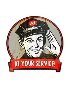 Service Man, Automotive, Round Banner Metal Sign, 15 X 16 Inches