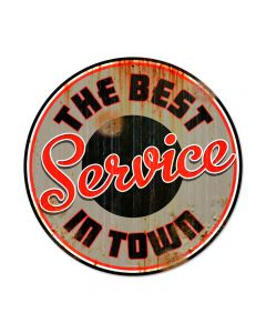 Best Service, Automotive, Round Metal Sign, 14 X 14 Inches