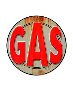 Gas, Automotive, Round Metal Sign, 14 X 14 Inches