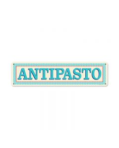 Blue Antipasto, Food and Drink, Vintage Metal Sign, 20 X 5 Inches