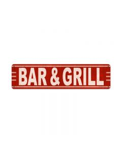 Bar Grill, Food and Drink, Metal Sign, 20 X 5 Inches