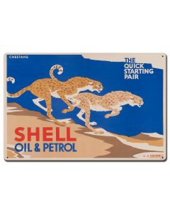 The Quick Starting Pair Shell Oil Cheetahs, Featured Artists/Shell, Satin, 24 X 16 Inches