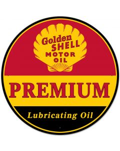 Golden Shell Motor Oil Premium Lubricating, Featured Artists/Shell, Satin, 28 X 28 Inches