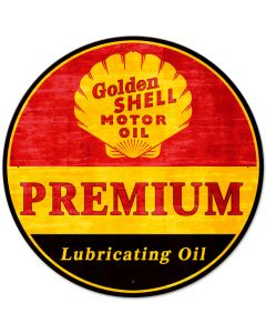 Golden Shell Motor Oil Premium Lubricating Grunge, Featured Artists/Shell, Satin, 28 X 28 Inches