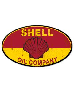 Shell Oil Company Grunge, Featured Artists/Shell, Oval, 24 X 14 Inches