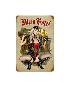 Gunner Girl, Axis Military, Vintage Metal Sign, 12 X 18 Inches