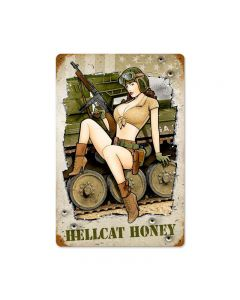 Hellcat Honey, Allied Military, Vintage Metal Sign, 12 X 18 Inches