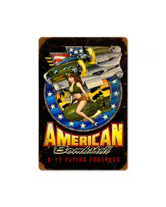 American Bombshell, Allied Military, Vintage Metal Sign, 12 X 18 Inches