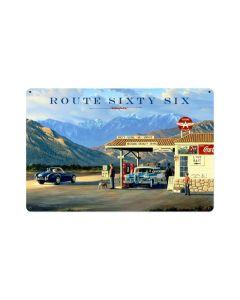 Route 66, Automotive, Vintage Metal Sign, 18 X 12 Inches