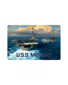 USS Midway, Allied Military, Vintage Metal Sign, 18 X 12 Inches