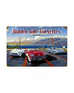 Golden Gate Corvettes, Automotive, Vintage Metal Sign, 24 X 16 Inches