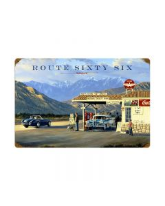 Route 66, Automotive, Vintage Metal Sign, 24 X 16 Inches