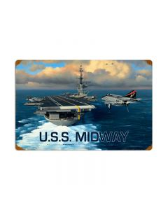 USS Midway, Allied Military, Vintage Metal Sign, 24 X 16 Inches