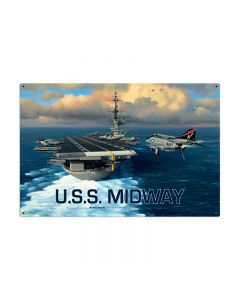 USS Midway, Allied Military, Metal Sign, 36 X 24 Inches