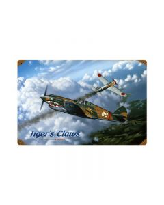 Tigers Claw, Aviation, Vintage Metal Sign, 18 X 12 Inches