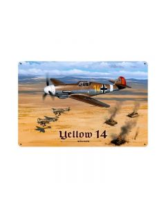 Yellow 14, Aviation, Vintage Metal Sign, 18 X 12 Inches
