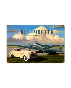 Lady Pioneer, Automotive, Vintage Metal Sign, 24 X 16 Inches