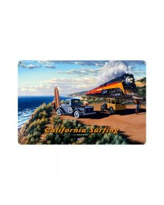 California Surfing, Automotive, Vintage Metal Sign, 18 X 12 Inches