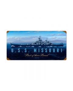 USS Missouri, Allied Military, Vintage Metal Sign, 24 X 12 Inches