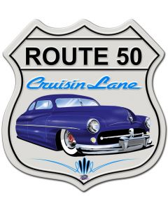 Mercury Cruisin' Route 50, Featured Artists/Tony's Pinstriping, SATIN SHIELD METAL SIGN , 15 X 15 Inches