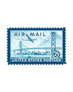 Air Mail San Fran, Aviation, Custom Metal Shape, 24 X 15 Inches
