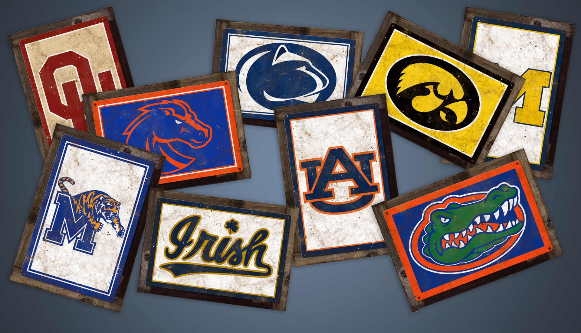Collegiate Wall Art NCAA Metal Signs